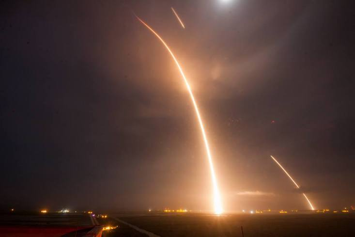 Long exposure of launch, re-entry, and landing burns of Falcon 9 (Credit: SpaceX)
